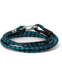 Paul Smith - Blue Woven-Leather Wrap Bracelet for Men - Lyst