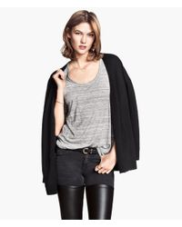 H&M - Gray Marled Jersey Top - Lyst