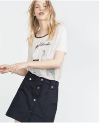 Zara | White Girl T-shirt | Lyst
