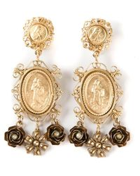 Dolce & Gabbana | Metallic Madonna Earrings | Lyst