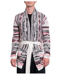 Laneus - Multicolor Cotton Jacquard Cardigan With Belt for Men - Lyst