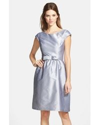 Alfred Sung | Gray Bow Detail Satin Fit & Flare Dress | Lyst