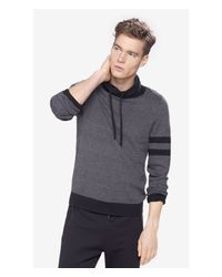 Express - Gray Birdseye Funnel Neck Sweater for Men - Lyst