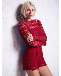 Free People | Red Dixie Lace Catsuit | Lyst
