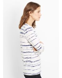 Vince - White Shadow Stripe Print Long Sleeve Tee - Lyst