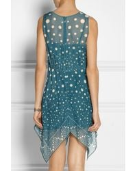 Anna Sui - Blue Printed Silk-Chiffon Dress - Lyst