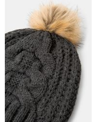 Violeta by Mango - Gray Knit Bobble Beanie - Lyst