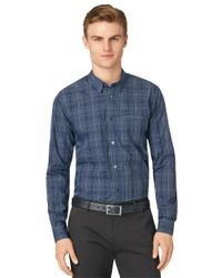 Calvin Klein | Blue Ombre Plaid Sportshirt for Men | Lyst