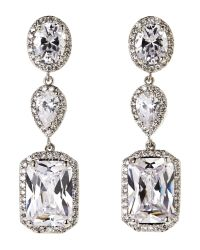 CZ by Kenneth Jay Lane - Natural Silver-Tone Earrings - Lyst