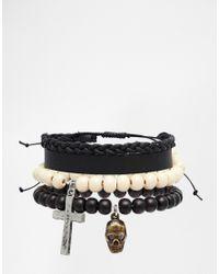 ASOS - Leather Beaded Bracelet Pack In Black for Men - Lyst