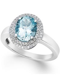 Macy's | Blue Aquamarine (1-1/2 Ct. T.w.) And Diamond (1/5 Ct. T.w.) Ring In 14k White Gold | Lyst