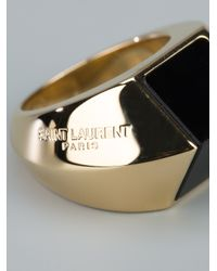 Saint Laurent | Metallic Ring with Onyx Insert | Lyst