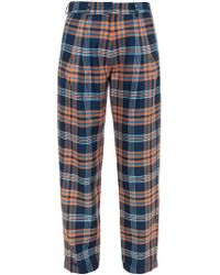 House of Holland | Blue Baggy Tartan Trousers | Lyst