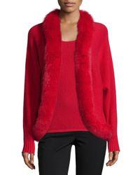 Neiman Marcus | Red Fur-trim Cashmere Cardigan | Lyst