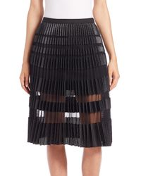 BCBGMAXAZRIA - Black Taura Faux-leather Mesh Skirt - Lyst