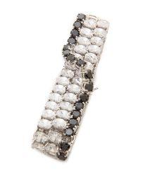 Kenneth Jay Lane   Crystal Crossover Bracelet - Clear/Black   Lyst