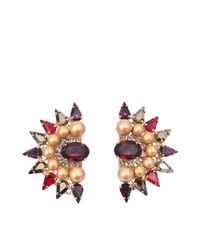 Anton Heunis | Multicolor Fan Shape Crystal Earrings | Lyst