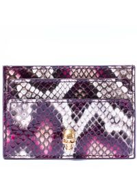 Alexander McQueen - Purple Pink Python Skull Card Holder - Lyst