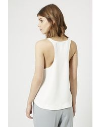 TOPSHOP - White Scoop Neck Vest - Lyst