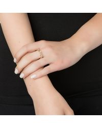 Emily & Ashley | Metallic Gold Round Stone Ring, Moonstone | Lyst