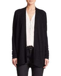 Vince | Black Ribbed Pointelle Cashmere Cardigan | Lyst