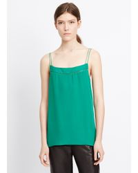 Vince | Green Double Layer Ladder Stitch Silk Cami | Lyst