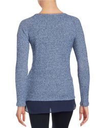 Lord & Taylor - Blue Layered-effect Knit Top - Lyst