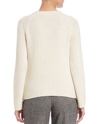 RED Valentino - Natural Solid Cable Crewneck Sweater - Lyst