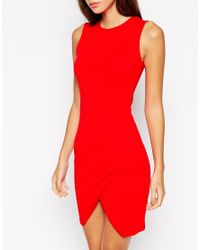 ASOS | Red Petite Asymmetric Sleeveless Bodycon Dress | Lyst