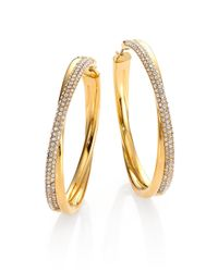 Michael Kors | Metallic Brilliance Statement Pavé Crossover Goldtone Hoop Earrings/1.75 | Lyst