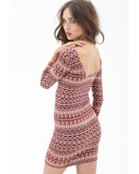 Forever 21 - Purple Print Bodycon Dress - Lyst
