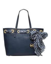 MICHAEL Michael Kors | Blue Jet Set Leather Scarf Medium Tote Bag | Lyst