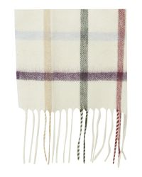 Barbour - Natural Bolt Tattersall Cashmere Mix Scarf - Lyst