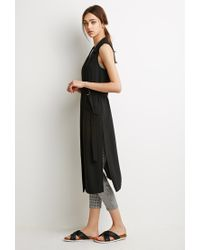 Forever 21 | Black Belted High-slit Vest | Lyst