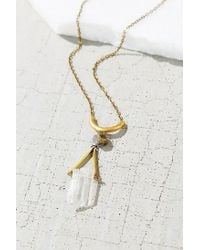 Urban Outfitters - Metallic Geo Crystal Pyrite Pendant Necklace - Lyst