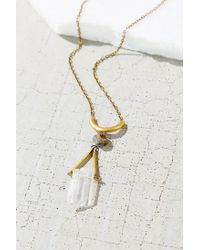 Urban Outfitters | Metallic Geo Crystal Pyrite Pendant Necklace | Lyst