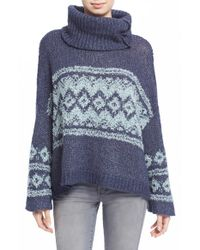 Free People | Blue Fair Isle Split Neck Sweater | Lyst