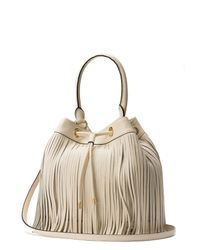 MILLY - White Essex Fringe Drawstring Bag - Lyst