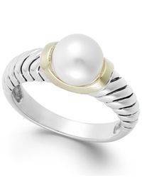 Macy's | White Cultured Freshwater Pearl Rope Ring In 14k Gold And Sterling Silver (8mm) | Lyst