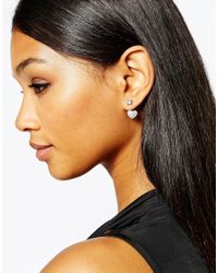 Lipsy - Metallic Crystal Heart Through & Through Earrings - Lyst