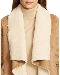Lauren by Ralph Lauren | Brown Petite Sherpa-lined Open-front Jacket | Lyst