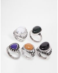ASOS - Multicolor Multipack Stone Rings - Lyst