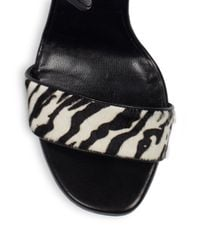 Saint Laurent - Black Jane Zebraprint Calf Hair Sandals - Lyst