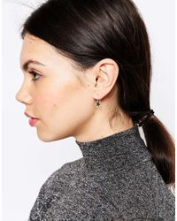 ASOS - Metallic Sterling Silver Star Pendant Earrings - Lyst