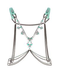 River Island | Green Leather Jewelled Body Harness | Lyst