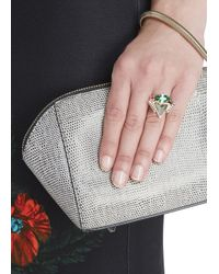 Iosselliani | Green Navette Embellished Triangle Ring | Lyst