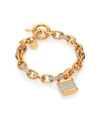 Michael Kors - Metallic Motif Pave Padlock Chain Braceletgoldtone - Lyst