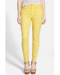7 For All Mankind - Yellow High Rise Ankle Skinny Jeans - Lyst