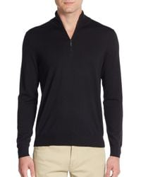 Saks Fifth Avenue | Black Quarter-zip Merino Wool Sweater for Men | Lyst