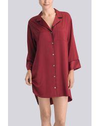 Natori | Red Solid Charmeuse Essentials Sleepshirt With Pocket | Lyst
